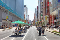 The main street in Ginza - Tokyo Royalty Free Stock Photos