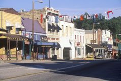 Main street in Historic Angels Camp, Gold Rush town, California stock photos