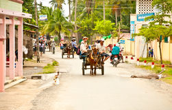 Main street with horse cart for tourist transportation on the Be Royalty Free Stock Image