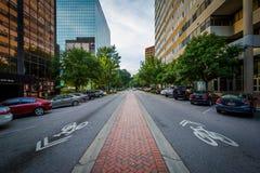 Main Street i i stadens centrum Columbia, South Carolina Arkivfoton