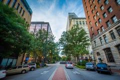 Main Street i i stadens centrum Columbia, South Carolina Arkivfoto
