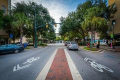 Main Street i i stadens centrum Columbia, South Carolina Royaltyfria Bilder