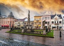 Main street of Kosice with Plague Column Royalty Free Stock Photos