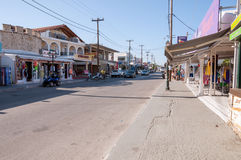 Main street of Lagas town on Zakynthos, Greece Royalty Free Stock Photography