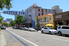 Main street leading visitors into and out of Little Italy, San Diego, California, 2016 Royalty Free Stock Photos