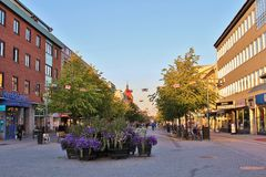 Main Street in Luleå Royalty Free Stock Images