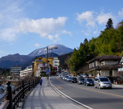 The main street with many cars in Nikko, Japan Royalty Free Stock Images