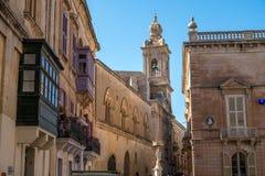 Main Street of Mdina with balcony, Malta, Europe, mediterranean Royalty Free Stock Image