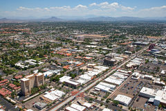 Main Street Mesa. Aerial view of Main Street in downtown Mesa, Arizona with light rail transportation near completion royalty free stock image