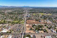 Main Street in Mesa, Arizona aerial view. Main Street in Mesa, Arizona looking east from Mesa Drive showing construction progress, renovation and development in stock image