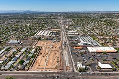 Main Street in Mesa, Arizona aerial view. Main Street in Mesa, Arizona with an aerial view looking west from Gilbert Road showing construction progress royalty free stock photo
