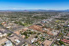 Main Street in Mesa, Arizona aerial view. Main Street in Mesa, Arizona looking to the northeast from Mesa Drive showing construction progress, renovation and royalty free stock photo
