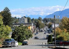 Main Street Mission BC. A view of Main Street in downtown Mission BC looking east from the area of Birch Street and 1st Avenue.  Main Street forms part of Hwy 7 Stock Photography