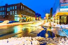 Main street of Moncton at night, New Brunswick royalty free stock photos