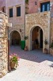 Main street at mountain village, island of Crete Royalty Free Stock Photos