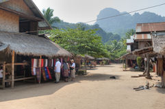 Main Street of Muangeko Village Royalty Free Stock Images