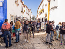 Main street of Obidos during the chocolate festival 2017 Royalty Free Stock Photography