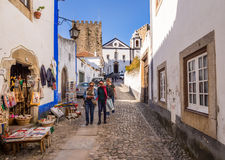 Main street of Obidos, Portugal Royalty Free Stock Photos