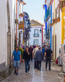 Main street of Obidos, Portugal Royalty Free Stock Images