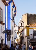 Main street of Obidos, Portugal Stock Images