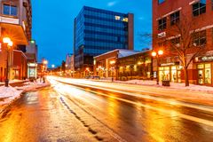 Free Main Street Of Moncton At Night, New Brunswick Stock Photography - 113003232