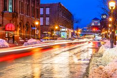Free Main Street Of Moncton At Night, New Brunswick Stock Image - 113003311