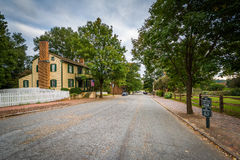 Main Street in the Old Salem Historic District, in Winston-Salem Royalty Free Stock Photo