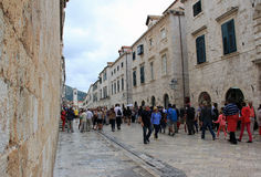 Main street in old town in Dubrovnik. Royalty Free Stock Photos