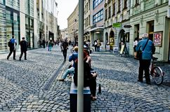 Street of Olomouc busy with people Royalty Free Stock Photos