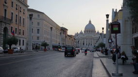 Main street in Rome, Italy that leads to St. Peter's Basilica. Standing on the main street that is turned towards St. Peter's Basilica in Vatican City stock footage