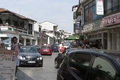 Photo reportage from Ulcinj of Montenegro Main street rr. hafiz ali ulqinaku stock photos