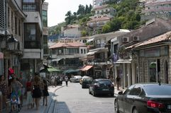 Photo reportage from Ulcinj of Montenegro Main street rr. hafiz ali ulqinaku royalty free stock photography