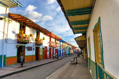 Main Street in Salento, Colombia. SALENTO, COLOMBIA - JUNE 8: View of the main street in the colonial town of Salento, Colombia on June 8, 2016 royalty free stock images