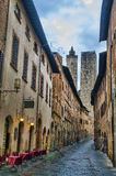 Main street of San Gimignano, Tuscany. The main street of the small but pitoresque medieval town San Gimignano in Tuscany, Italy Royalty Free Stock Photo