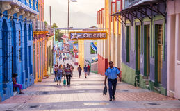 Main street of Santiago de Cuba. Santiago de Cuba, Cuba on January 5, 2016: Cuban people walking in the pedestrianised city centre of Santiago de Cuba Stock Image