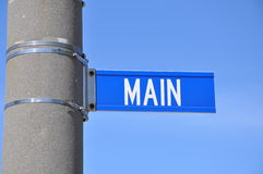 Main street sign. Posted in the concrete pole Stock Image
