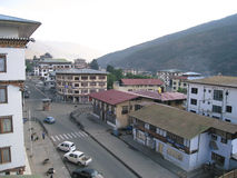 Main Street of Thimphu - Norzim Lam - Bhutan. The main street, Norzim Lam in the capital Thimphu contains a number of shops and small hotels and restaurants Royalty Free Stock Image