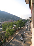 Main Street of Thimphu - Norzim Lam - Bhutan. The main street, Norzim Lam in the capital Thimphu contains a number of shops and small hotels and restaurants Royalty Free Stock Photography