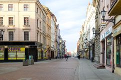 Main street in Torun (Poland). Stock Photos