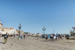 Main street with  tourists in Venice, Italy Royalty Free Stock Photo