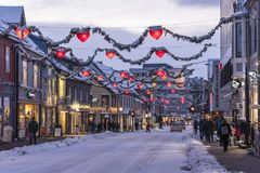 Main street Tromsø Norway. Main street Norwegian: Storgata with illuminated christmas decorations. Tromsø lies in Northern Norway. Most of Tromsø Royalty Free Stock Images
