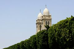 On the main street - Tunis. Two towers in Tunis on the Habib Bourguiba street Stock Photo