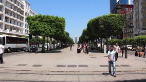 Main street of Tunis, Tunisia. TUNISIA, TUNIS, JUNE 30, 2010: Main street of Tunis, Tunisia, June 30, 2010 stock footage