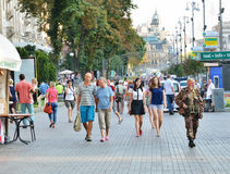 Main street in the Ukrainian capital Royalty Free Stock Photography