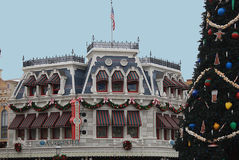 Main Street USA Confectionery with Christmas tree. royalty free stock photo