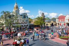 Main Street USA at The Magic Kingdom, Walt Disney World. Orlando, Florida: December 2, 2017: Main Street USA at The Magic Kingdom, Walt Disney World. In 2016 stock images