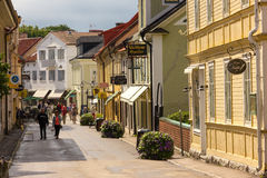 Main Street. Vadstena. Sweden stock photography