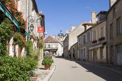 The main street in Vezelay Abbey in France. Vezelay is a commune in Burgundy. It is a defendable hill town famous for Vezelay Abbey. The town and the Romanesque royalty free stock images