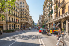 Main Street Via Laietana, Barcelona Stock Photography