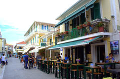 Main street view,Lefkada, Greece Royalty Free Stock Images